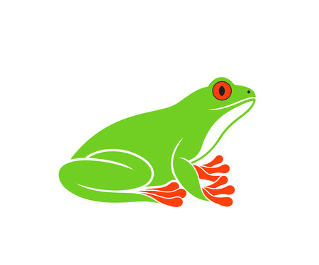 Red-eye frog isolated on white background. Stock Illustratie