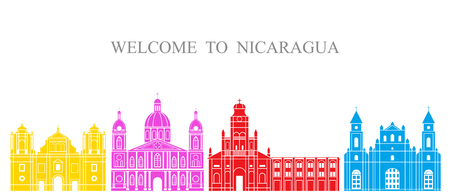 Isolated Nicaragua architecture on white background