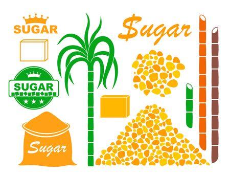 Sugar set Isolated sugar on white background