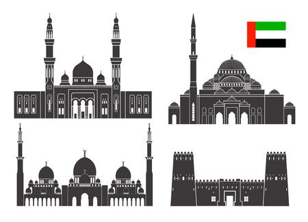 Abu Dhabi set. Isolated Abu Dhabi architecture on white background