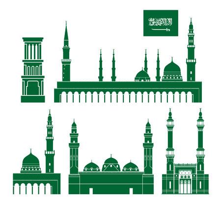 사우디 아라비아 세트 흰색 배경에 고립 된 사우디 아라비아 건축