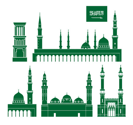 Saudi Arabia set. Isolated Saudi Arabia architecture on white background  イラスト・ベクター素材