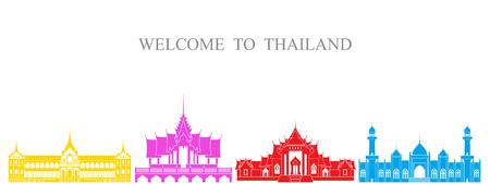 Thailand set. Isolated Thailand architecture on white background Ilustração