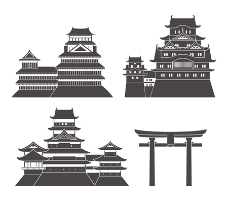 Vector illustration Isolated Japan architecture on white background  イラスト・ベクター素材