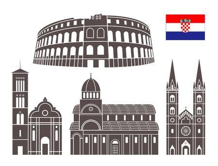 Croatia set. Isolated Croatia architecture on white background