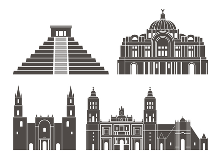 Mexico set. Isolated Mexico on white background  イラスト・ベクター素材