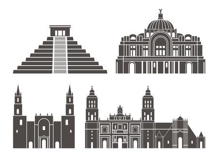 Mexico set. Isolated Mexico on white background Vettoriali