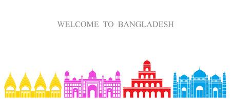 방글라데시 세트. 흰색 배경에 고립 된 방글라데시 아키텍처 일러스트