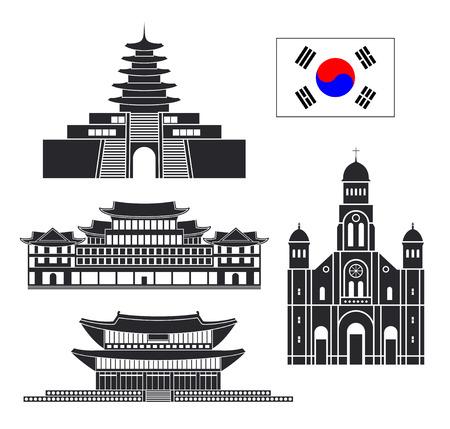 South Korea set. Isolated South Korea architecture on white background Vettoriali