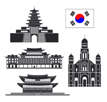South Korea set. Isolated South Korea architecture on white background Ilustração