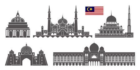 말레이시아 설정합니다. 흰색 배경에 고립 된 말레이시아 건축 일러스트