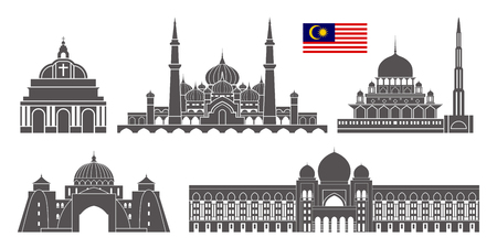Malaysia set. Isolated Malaysia architecture on white background