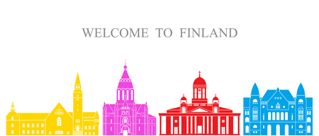 Finland set Isolated Finland architecture on white background Illustration