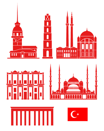 Turkey set. Isolated Turkey architecture on white background