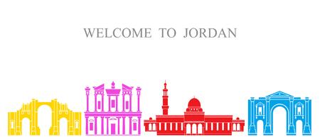 ヨルダンセット。白い背景に孤立したヨルダン建築 写真素材 - 98631043