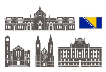 Bosnia and Herzegovina set. Isolated Bosnia and Herzegovina architecture on white background Stock Illustratie