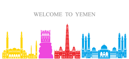 Yemen set. Isolated Yemen architecture on white background Illustration