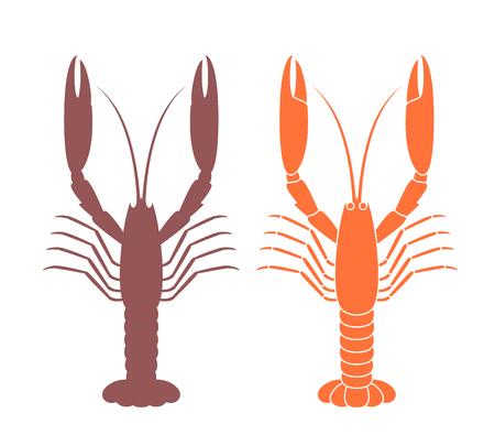 Langoustine silhouette. Crustacean. Isolated langoustine on white background Illustration