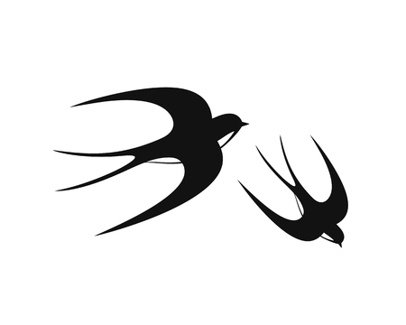 Swallow logo. Isolated swallow on white backgroun. Bird Ilustração