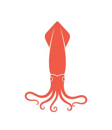 Squid logo. Isolated squid on white background