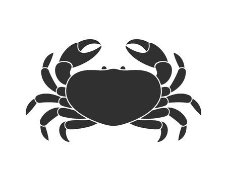Crab icon. Isolated crab on white background Vettoriali
