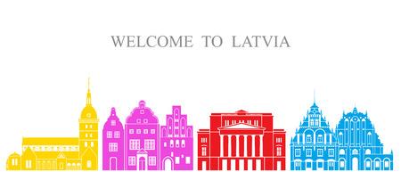 Latvia set. Isolated Latvia architecture on white background Illustration