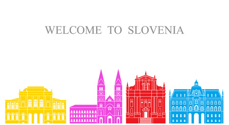 Slovenia set. Isolated Slovenia architecture on white background