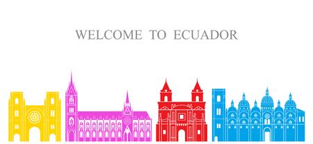 Ecuador set. Isolated Ecuador architecture on white background