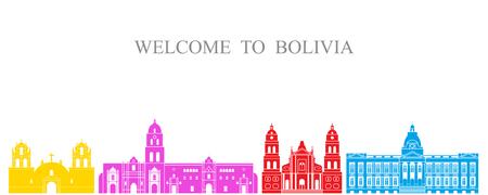 Bolivia set. Isolated Bolivia architecture on white background
