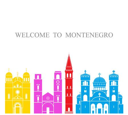 Montenegro set. Isolated Montenegro architecture on white background Illustration