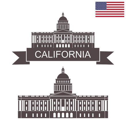 State of California. Building of State Capitol in Sacramento California Illustration