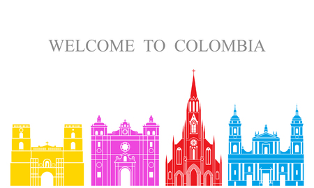 Colombia set. Isolated Colombia architecture on white background