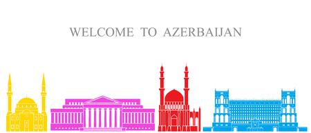 Azerbaijan set. Isolated Azerbaijan architecture on white background