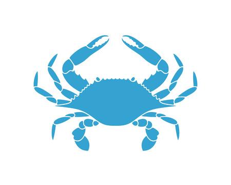 Blauwe krab. Logo. Geïsoleerde krab op witte achtergrond Logo