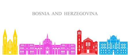Bosnia and Herzegovina set. Isolated Bosnia and Herzegovina architecture on white background