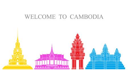 Cambodia set. Isolated Cambodia architecture on white background