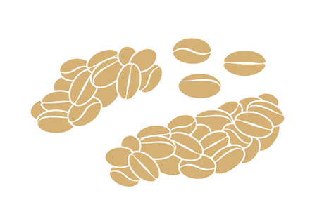 Luwak coffee. Isolated coffe beans on white background Vetores