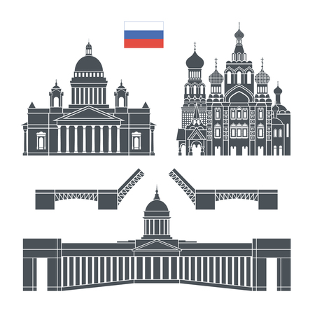Saint Petersburg. Russia set. Isolated Russia architecture on white background