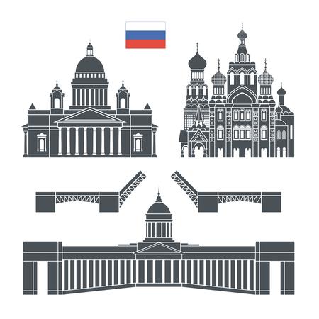 San Petersburgo. Rusia conjunto. Arquitectura de Rusia aislada sobre fondo blanco