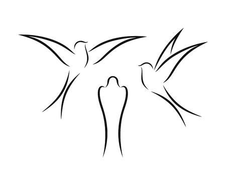 Swallow outline. Isolated swallow on white backgroun. Bird