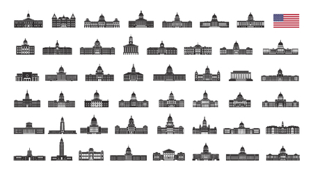 United States of America building. Vector collection of United States city building