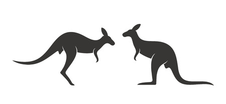 Kangaroo logo. Isolated kangaroo on white background Ilustração
