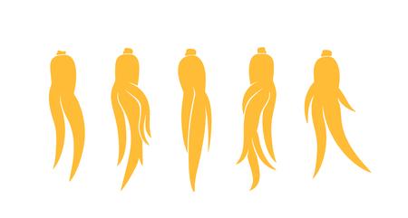 Ginseng logo. Isolated ginseng on white background