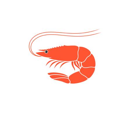 Shrimp Logo. Isolated shrimp on white background. Prawns Logó