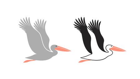 Pelikan-Set. Isolierter Pelikan auf weißem Hintergrund Vektorgrafik