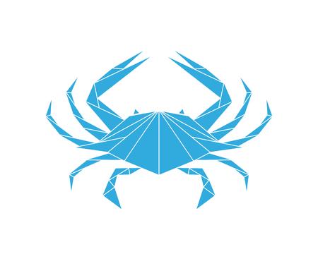 Niebieski krab. Logo. Na białym tle krab na białym tle Logo