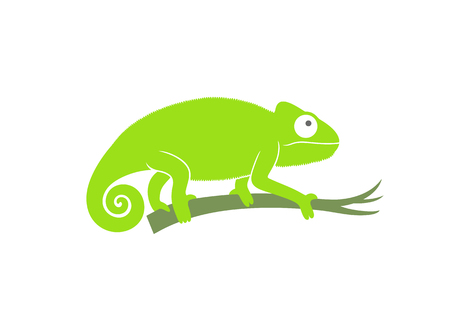 Green chameleon. Abstract chameleon on white background Иллюстрация