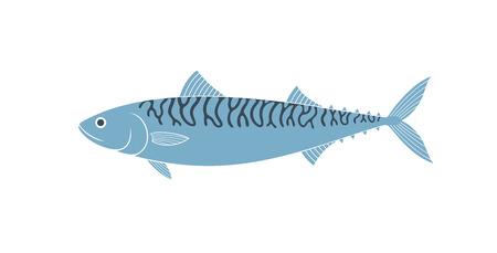 Mackerel logo. Isolated mackerel on white background