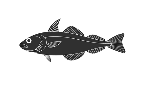 Haddock logo. Isolated haddock on white background Illustration