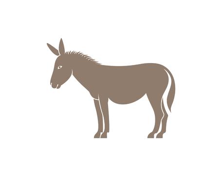 Esel-Logo. Isolierter Esel auf weißem Hintergrund